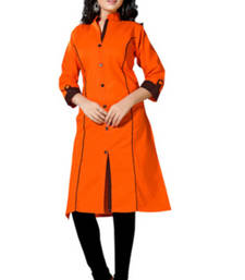 Buy Orange cotton plain kurti cotton-kurti online