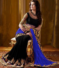 Buy Blue embroidered Georgette saree with blouse hot-deal online