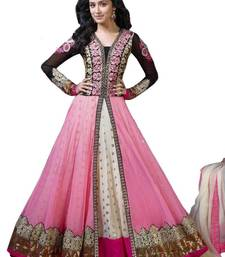 Buy Pink embroidred net salwar with dupatta anarkali-salwar-kameez online
