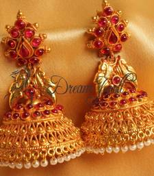 Buy GORGEOUS ROYAL PEACOCK REAL KEMP HUGE JHUMKKA jhumka online