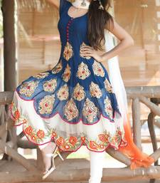 Buy Blue georgette embroidered semi stitched salwar with dupatta anarkali-salwar-kameez online