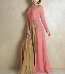 Buy Baby pink georgette embroidered semi stitiched salwar with dupatta indowestern online