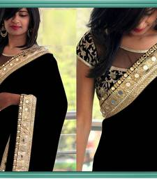 Buy INDIAN BLACK DESIGNER WEDDING WEAR SAREE GEORGETTE EMBROIDERY LACE BORDER MIRROR WITH BLOUSE SAREE SARI. wedding-gift online