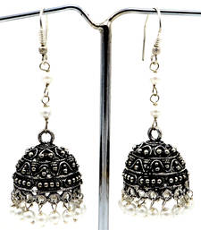 Buy Pearl silver plated jhumka earrings for women gemstone-earring online