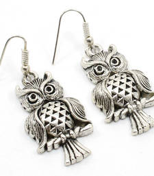 Buy Owl silver plated earrings for women gemstone-earring online