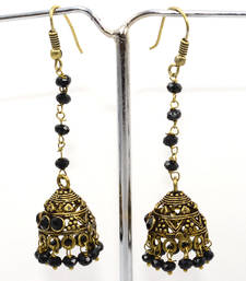 Buy Black quartz gold plated jhumki earring gemstone-earring online