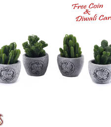 Buy Cute little plant style decorative candles with stand (set of 4) candle online
