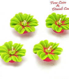 Buy Festive special green floral candle diyas candle online