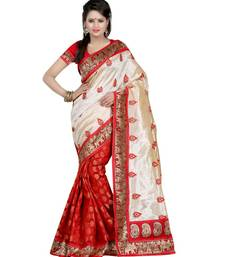 Red embroidered chanderi cotton saree with blouse shop online