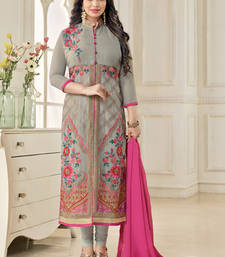 Buy Grey georgette embroidered semi stitiched salwar with dupatta ayesha-takia-salwar-kameez online
