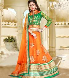 Buy orange net embroidered unstitched lehenga choli bridal-lehenga online