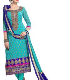 Buy Skyblue georgette embroidered semi stitched salwar with dupatta pakistani-salwar-kameez online