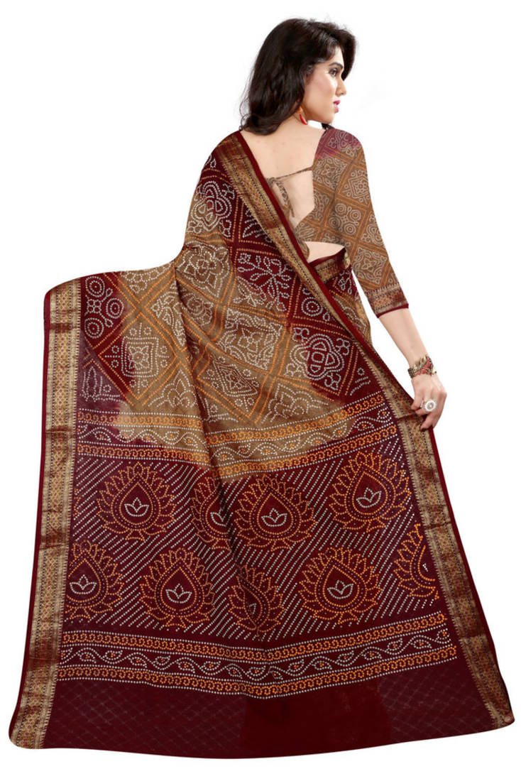 Buy Bandhani Saree Chiku Hand Woven Jacquard Saree With