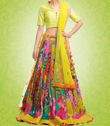 Buy Multi color Silk Printed unstitched Lehenga with Blouse lehenga-below-2000 online
