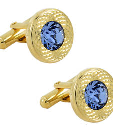 Buy Matte  Gold Plated Round Blue Cufflink Pair For Men cufflink online