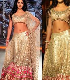 Indian Ethnic Replica Katrina Golden Net Lehenga
