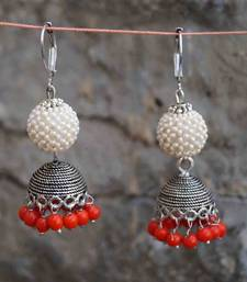 Buy pearl jhumka poppy red gifts-for-her online