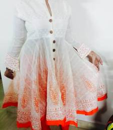 Buy Designer cotton party wear kurti long ghera with leggings cotton-salwar-kameez online
