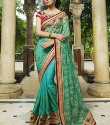 Buy Green embroidered net saree With Blouse wedding-saree online