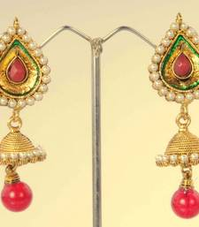 Buy Jhumka Earring with Pearls Tear Drop Top Design ABARI00H0030 Earring online