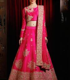 Buy Pink embroidered dupion silk unstitched bridal-lehengas bridal-lehenga online