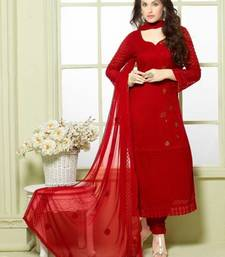 Buy Red georgette embroidered semi stitiched salwar with dupatta pakistani-salwar-kameez online