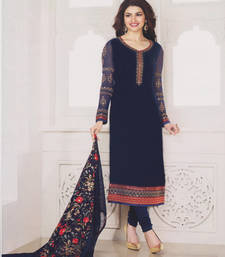 Buy Blue georgette embroidered semi stitiched salwar with dupatta pakistani-salwar-kameez online