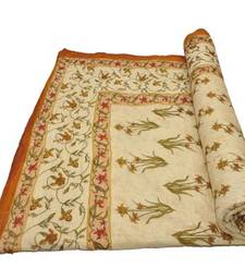 Buy Cream jaipuri hand made hand block print singal bed quilts quilt online