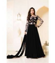 Buy black georgette embroidered semi stitiched salwar with dupatta anarkali-salwar-kameez online
