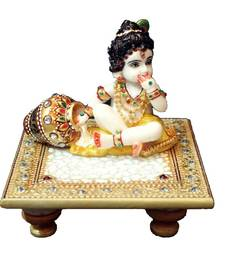 Buy eCraftIndia Laddu Gopal on Golden Marble chowki other-home-accessory online
