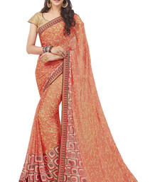 Buy Peach printed chiffon saree with blouse brasso-saree online