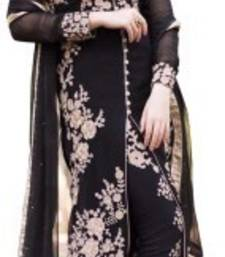 Buy Black georgette embroidered semi stitiched salwar with dupatta cotton-salwar-kameez online