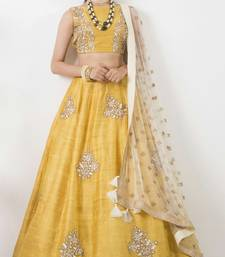 Buy Yellow banglory silk emboidery unstitched lehenga choli navratri-lehenga-chaniya-choli online