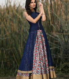 Buy blue georgette embroidered unstitched salwar with dupatta indian-dress online
