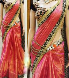 Buy Orange embroidered Paper Silk saree With Blouse party-wear-saree online