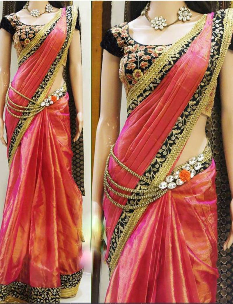 Buy Orange Embroidered Paper Silk Saree With Blouse Online
