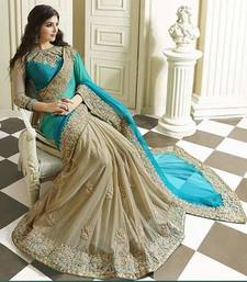 Buy Aqua blue embroidered faux georgette saree with blouse georgette-saree online