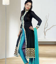 Buy Black cotton embroidered semi stitched salwar with dupatta patiala-salwar online