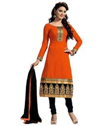 Buy Orange poly cotton printed unstitched salwar with dupatta cotton-salwar-kameez online