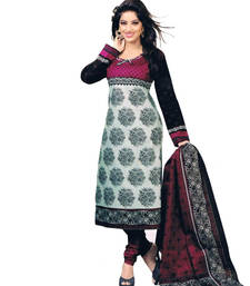 Buy Grey and white poly cotton printed unstitched salwar with dupatta cotton-salwar-kameez online
