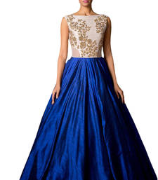 Buy Blue Georgette embroidered semi stitiched party wear gowns party-wear-gown online