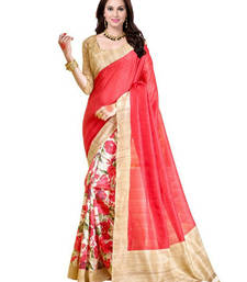 Buy Beige printed bhagalpuri saree with blouse printed-saree online