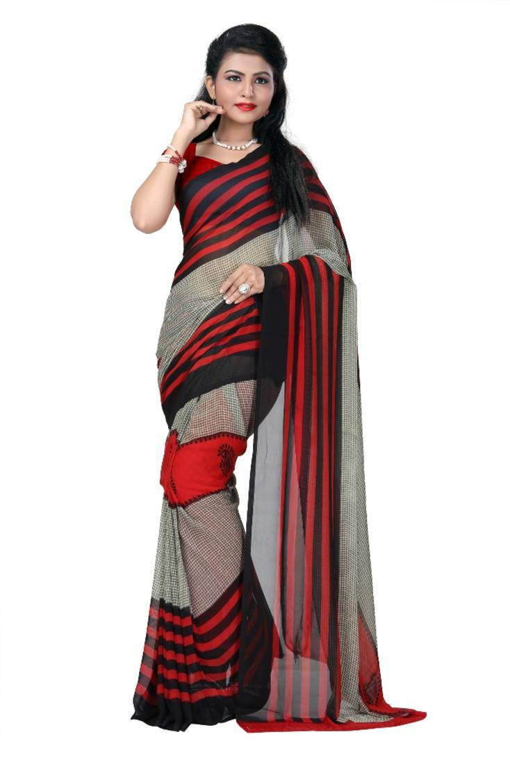 Buy Multicolor printed georgette saree with blouse Online