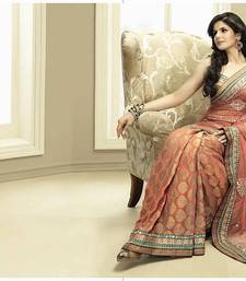 Buy Peach half net half khadi georgette saree with embroidery wedding-saree online
