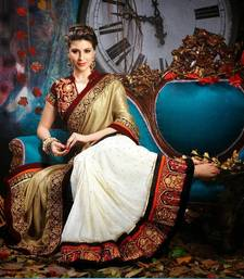 Buy Dark Beige And Off White Viscose Bemberg Saree wedding-saree online
