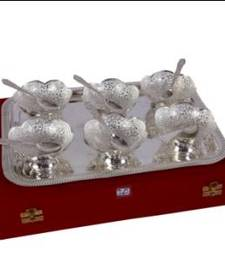 Buy German Silver 6 Carving  Bowl Dinner Set with Tray tray online
