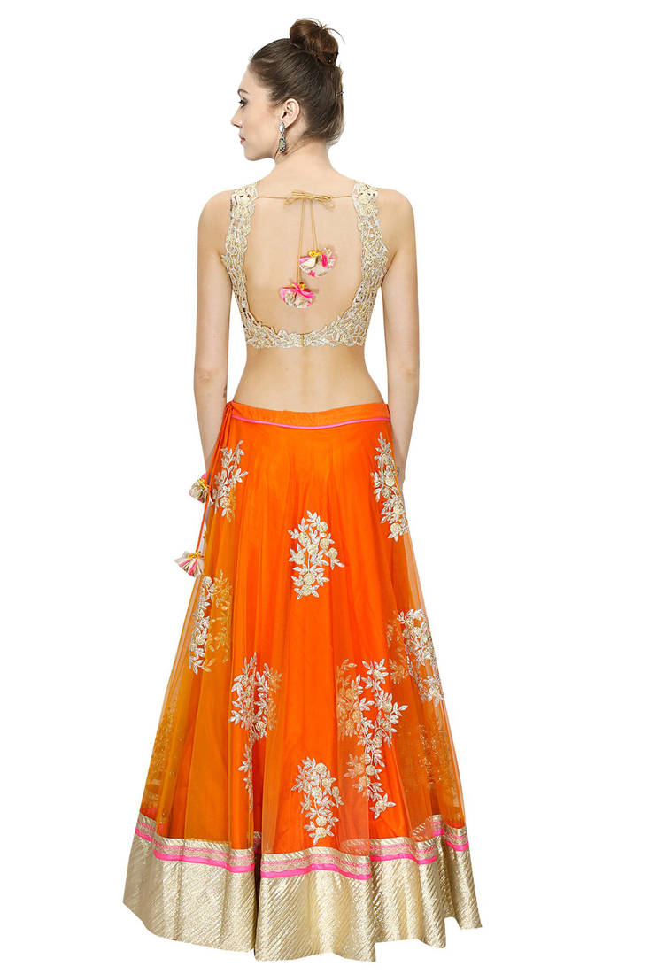 Buy Orange Embroidered Net Unstitched Ghagra Choli Online