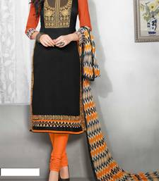 Buy Black georgette embroidered semi stitched salwar with dupatta salwars-and-churidar online