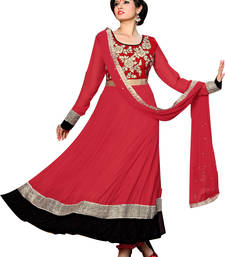Buy Red georgette embroidered semi stitched salwar with dupatta salwars-and-churidar online