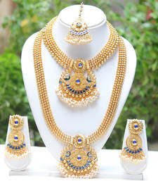 Buy Incredible blue colour haram set bridal-set online